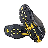 Ice & Snow Grips Over Shoe,Boot Traction Cleat Rubber Spikes Anti Slip 10-Stud Crampons Slip-on Stretch Footwear 2pairs