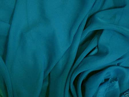 "1 MTR TEAL GREEN GEORGETTE BRIDAL DRESS CHIFFON FABRIC...58/"" WIDE"