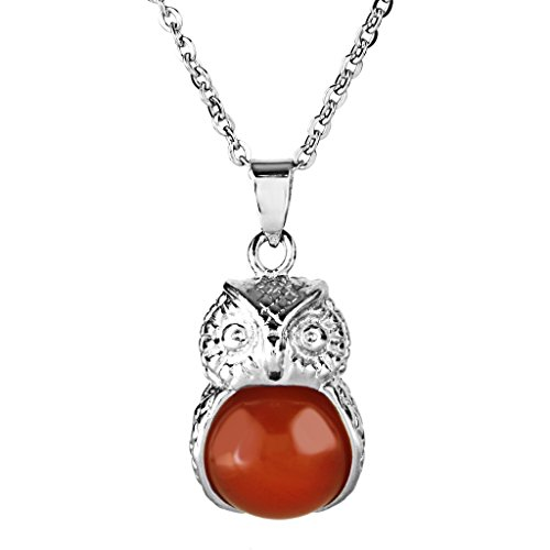 Red Onyx Gem Pendant - Aprilsky Jewelry Vintage Gemstone Crystal Red Onyx Chakra Animal Owl Pendant Necklace with Stainless Steel Chain