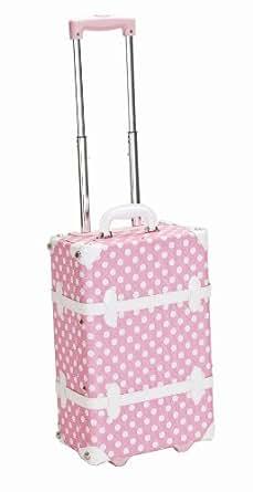 Rockland Luggage 19 Inch Rolling Trunk, Pink Dot, Medium