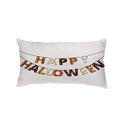 Polyester Car Neck Pillow,Halloween,Happy Halloween Banner Greetings Pumpkins Skull Cross Bones Bats Pennant Decorative,Orange Black White,13.7x7.8Inches,for Car Designed,Travel Car Seat & Home