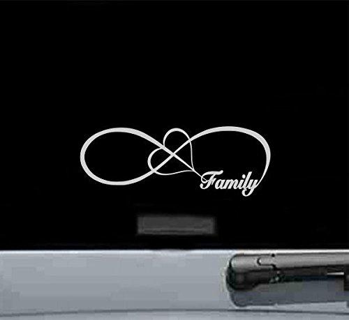 Family Love Heart Infinity Vinyl Decal Sticker (SILVER)