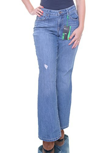 Style & Co. Women's Ripped Mid-Rise Curvy-Fit Flared Jeans (14, Sea Glass Wash)