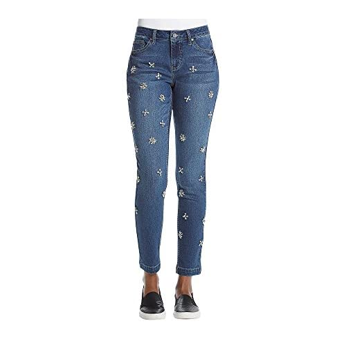 Earl Jean Rhinestone Detail Ankle Skinny Jeans for sale