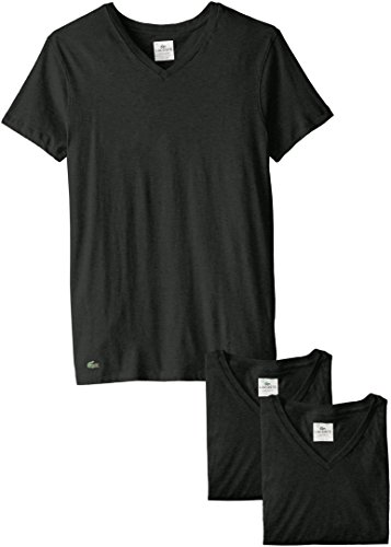 Lacoste Men's Classic Fit Cotton V Neck Tee, Multipack, Black, Medium 3 Pack Cotton V-neck Tee