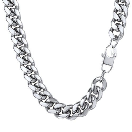Stainless Steel,Mens Jewelry,Collares Hombre,Chunky Necklace,0.55'',18'',Steel Collar,Cuban Link (Chunky Link Chain)