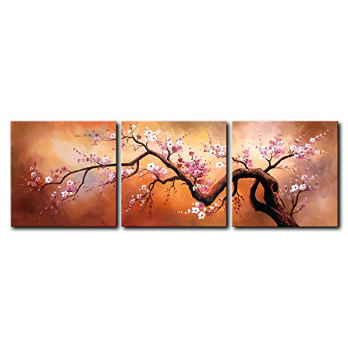 VASTING ART 3-Panel 100% Hand-Painted Canvas Oil Paintings Landscape Human Body Trees Modern Abstract Artwork Stretched Wood Framed Ready Hang Home Decoration Wall Decor Living Room Bedroom (Log Mirror Frame)