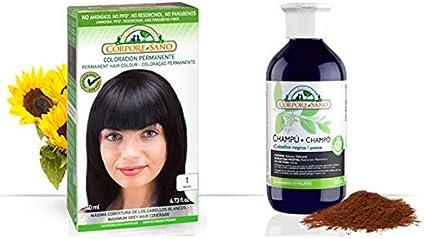 Pack Coloracion NEGRO 1 Permanente 140ml + Champu Henna NEGRO ...