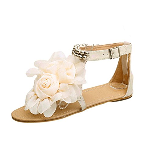 GBSELL Women's Summer Bohemia Boho Beaded Flower Flat Flip Sandals Shoes (Beige, 9.5) For Sale