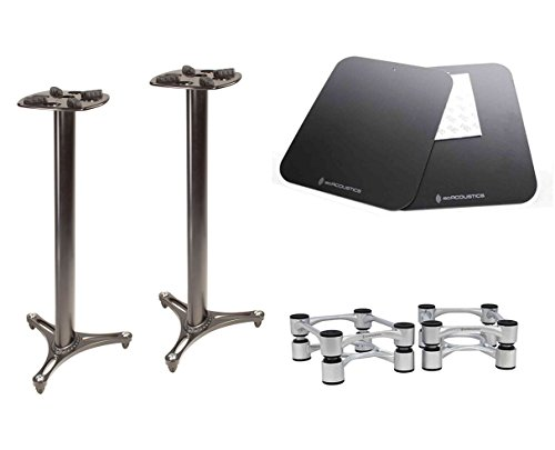 Ultimate Support MS-90/45B MKII + IsoAcoustics Aperta Silver + Plates by Ultimate Support
