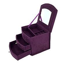 KIWISUNNY Purple Suedette MINI Three Layer Jewelry Jewellery Box with Mirror