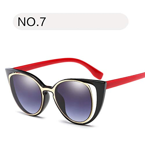 (HUYANJING Fashion Cat Eye Sunglasses Women Retro Pierced Female Sun Glasses Uv400)
