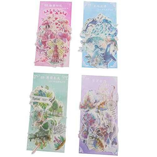 Kawaii Washi Paper Sticker Set (240 Pieces) Pink Girl Romantic Memory Starry Night Blue Ocean Whale Snowflake Balloon Castle Building Green Plants Adhesive Stationery Stickers Craft DIY Label for Kids (Kawaii Balloons)