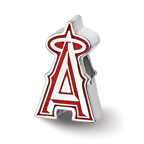 (MLB Los Angeles Angels Sterling Silver Los Angeles Angels Enameled Bead Size One)