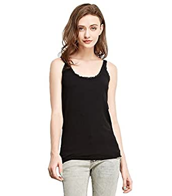 Liang Rou Women's Ribbed Knit Lace Camisole U-Neck Black M