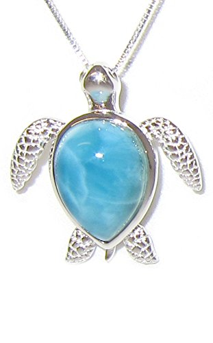 (Sterling Silver Larimar Turtle Necklace Pendant With 18