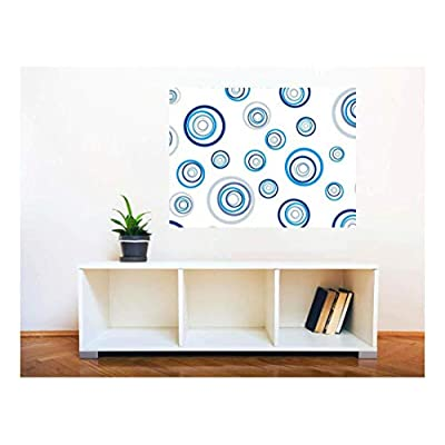Removable Wall Sticker Wall Mural Fresh Blue Abstract Circles Creative Window View Wall Decor, Made With Top Quality, Charming Piece of Art
