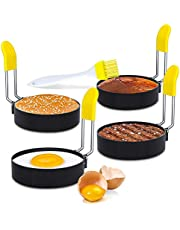 Egg Cooker Ring Set of 4 for Frying Eggs and English Muffin, Round Egg Shaper Mold with Anti-scald Handle, Stainless Steel Non-stick (Basting Brush Included)