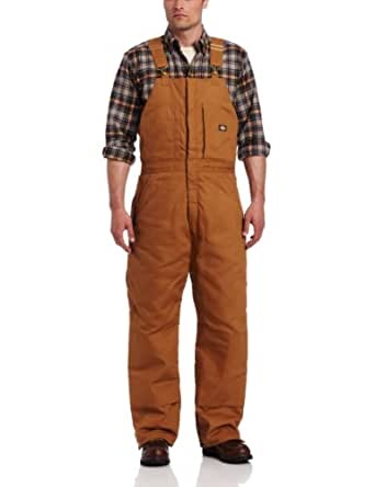 Dickies Insulated Scuffguard Bib Overalls, Brown Duck, Medium Small