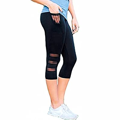 Fittoo Women Mesh Workout Leggings Black Capri Sexy Skinny High Waist Yoga Pants Slim Quick Dry Tight Flare Leg