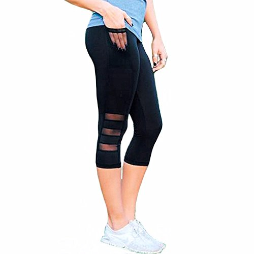 Fittoo Women Mesh Workout Leggings Black Capri Sexy Skinny High Waist Yoga Pants Slim Quick Dry Tight Flare - Skinny Mesh