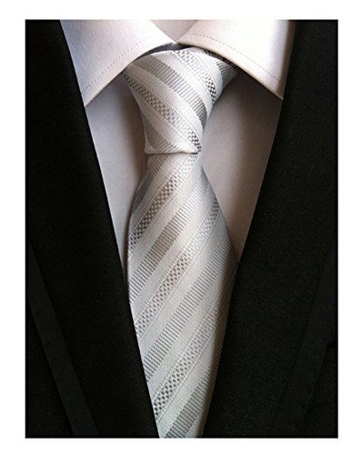 Secdtie Men's Stripe White Silver Jacquard Woven Silk Tie Formal Necktie TW010 (Burgundy Shirt Dress Stripe Luxury)