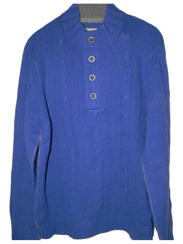 Tommy Bahama Outer Banks Button Mock Cable Knit Sweater (Color: Cobalt, Size XL)