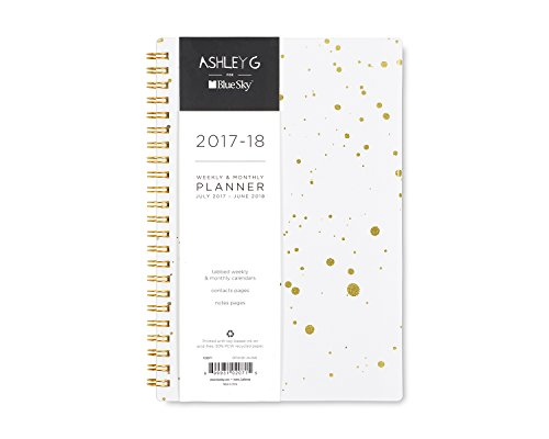 "Ashley G for Blue Sky 2017-2018 Academic Year Weekly & Monthly Planner, Twin-Wire Bound, 5"" x 8"", White Galaxy Soft Cover -  Blue Sky the Color of Imagination, LLC, 102071"