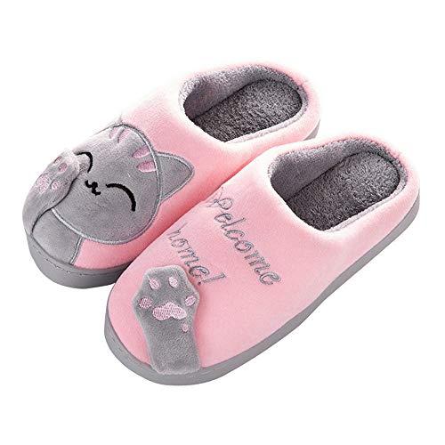 Aniywn Women Winter Home Indoor Warm Fleece Slippers Cat Non-Slip Warm Indoors Bedroom Floor Shoes(Pink,38-39)