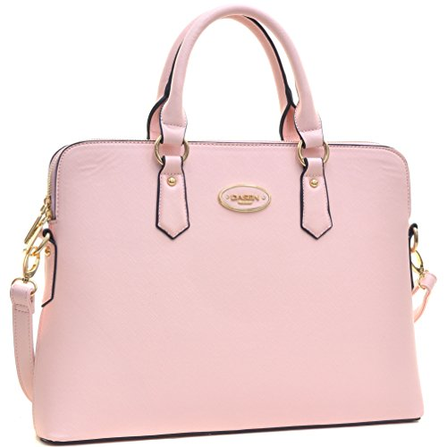 DASEIN Women Slim Handbag Designer Purse Briefcase Satchel Top Handle Laptop Shoulder (Pink Leather Briefcase)
