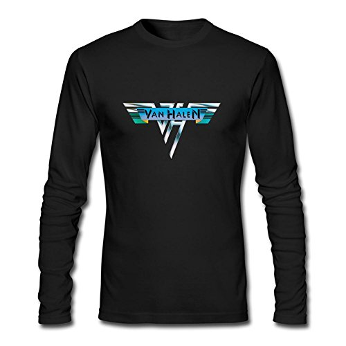 (PPLIN Men's van halen LoGo Long Sleeve T-shirt Black L)