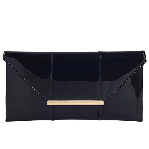 Faux Patent Leather Envelope Candy Clutch, Black