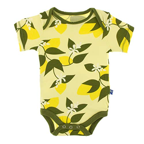 Kickee Pants Little Girls Print Short Sleeve One Piece - Lime Blossom Lemon Tree, 0-3 Months ()