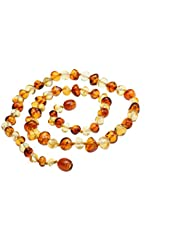 Amberbeata Amber Jewelry 100% Genuine Baltic Amber Teething Necklace for Mom Lemon Cognac Two Tone