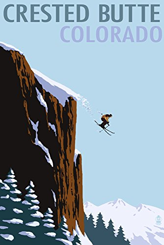Crested Butte, Colorado - Skier Jumping (12x18 Art Print, Wall Decor Travel Poster)