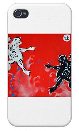 Black and White Frogs Mural Yuya Negishi YUYART - Apple iPhone Custom Case 4 4S White Plastic Snap On (Mural Frog)