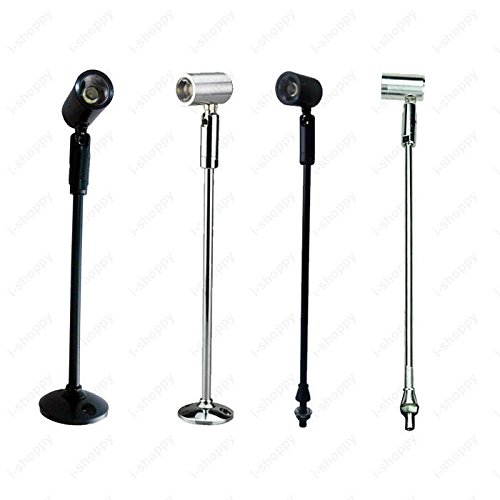 1W LED Pole Light Fixture Picture Spotlight Table Stand Post Lamp Jewelry Store (20CM-7.87'')(With base/Silver)(Warm - Place Outlets Lighthouse