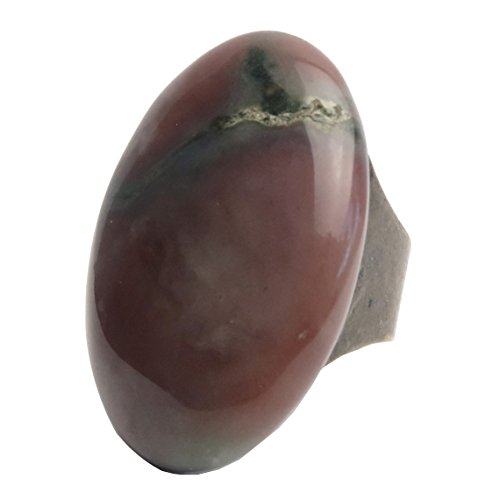SatinCrystals Jasper Fancy Ring 5-11 Specialty Oval Genuine Gemstone Chunky Adjustable Bronze Red B01 (Purple) ()