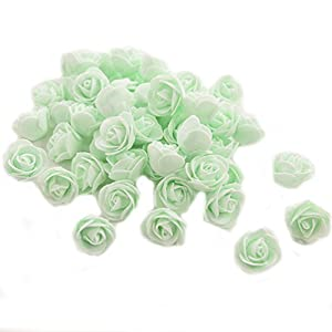 Ewandastore 100 Pcs 1.2 Inch Fake Rose Heads Real Looking Artificial Roses Flowers Heads for Wedding Bouquets Centerpieces Party Baby Shower Home DIY Decorations(Tiffany Blue) 11