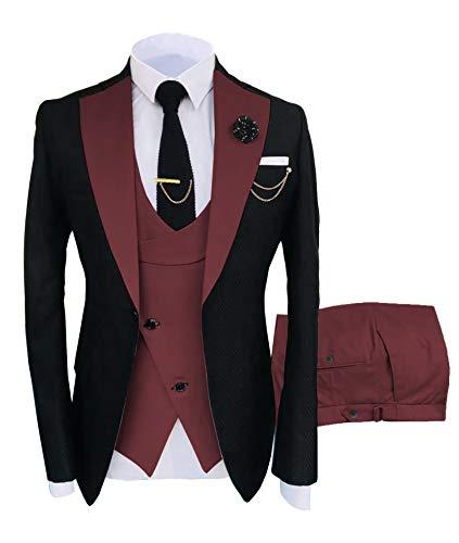 Traje formal de 3 piezas para hombre con solapa de muesca para hombre, ajuste delgado, traje de padrinos esmoquin para…
