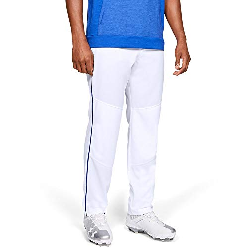 Under Armour Men's Utility Relaxed Piped Baseball Pants, White (101)/Royal, Medium