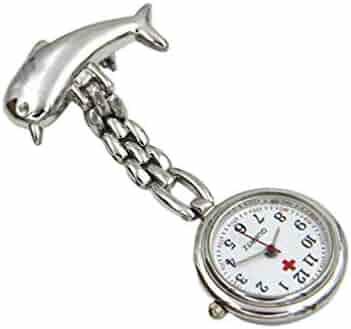 HEMOBLLO Pocket Watch Nurse Watch Steampunk Dolphin Brooch Hanging Watch Doctor Pocket Watch