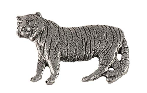 Creative Pewter Designs, Pewter Tiger Giant, Handcrafted Lapel Pin Brooch, Antique Finish, M110
