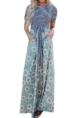 Women Floral Stripes Sleeve Maxi Long Tunic Green Dress Print Short Coolred 1BaqEwxd1