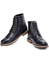 Men's Oxford Boots Wingtip Brogue-Lace-Up Zip Ankle Dress Boots Work Combat Motorcycle Black Brown