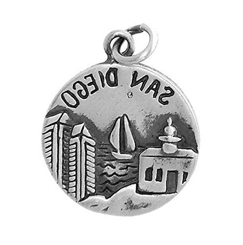 Sterling Silver SAN Diego America's Finest City Charm/Pendant Vintage Crafting Pendant Jewelry Making Supplies - DIY for Necklace Bracelet Accessories by CharmingSS