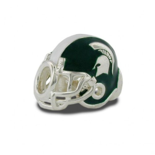 Michigan State Charms   Michigan State Spartan Football Helmet Charm with Green and Clear Crystal Charms   Officially Licensed Michigan State University Jewelry   MSU Jewelry   Stainless Steel by Stone Armory (Image #3)