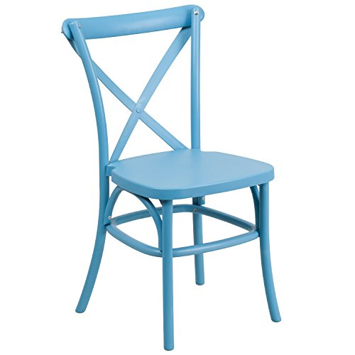Flash Furniture HERCULES Series Blue Resin Indoor-Outdoor Cross Back Chair with Steel Inner - Stack Resin