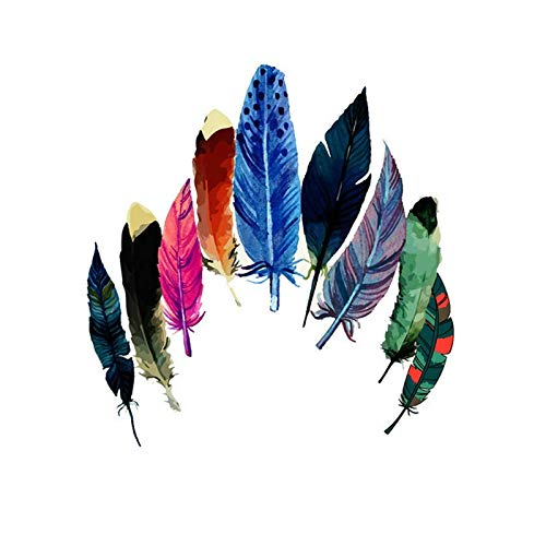 Creative Color Feather Ironing on Patch Patchwork Needlework Sewing Patches Heat Transfers Press Stickers for Families Handmade Diy Craft Appliques Parent Childs