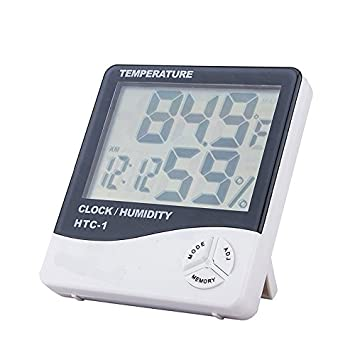 Misika – Pantalla digital LCD higrómetro, termómetro, medidor de la humedad ambiente, reloj